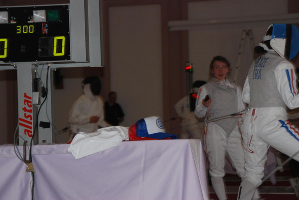 Practice session the day before the Cadet Men's Epee.   James Kaull in background.