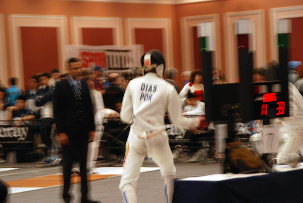 James Kaull vs a fencer from Portugal.