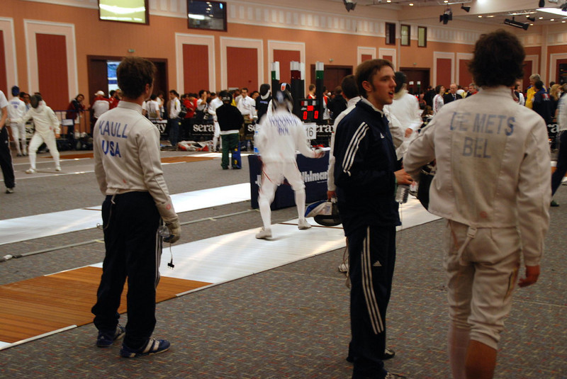 James Kaull watching other fencers preparing for prelims.
