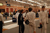 Adam Watson conversing with a fencer from Belgium.