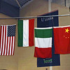 The flags of the medal winners is raised during the playing of the Hungarian national anthem (USA, Hungary, Italy, China).