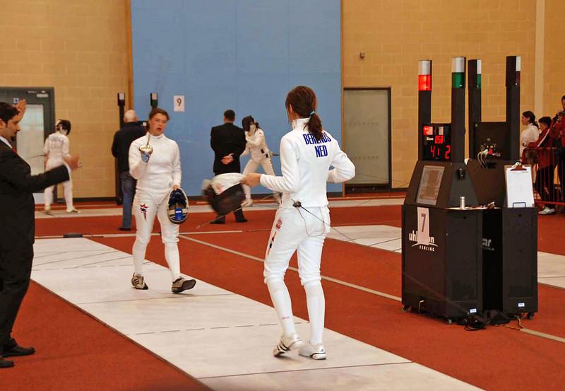 Katharine Holmes (left) vs Carmen Berends (Netherlands).  Katharine won 5-2.
