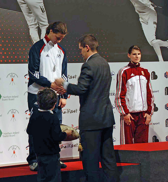 Katharine Holmes receives her silver medal at the Cadet World Championships.