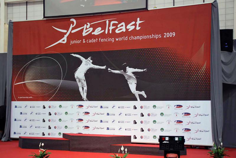 The award platform at the 2009 Junior/Cadet World Championships.