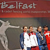 The medal winners of the 2009 Cadet Women's Epee World Championships.  Katharine Holmes, USA - Silver, Dorina Budai, Hungary - Gold, Camilla Batini, Italy - Bronze, Anqi Xu, China - Bronze.
