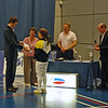 Nina Moiseiwitsch receives her silver medal and certificate in the Cadet Women's Epee British National Championships.