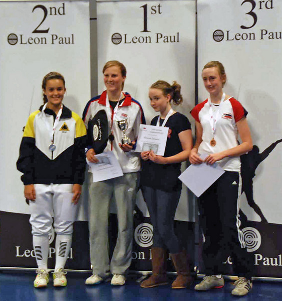 The medalists in the 2010 Cadet Women's Epee British National Championships.  From left: Nina Moiseiwitsch (2nd), Amy Radford (1st), Eleanor Cormack (3rd) and Elisabeth Powell (3rd).