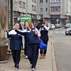 Nina Moiseiwitsch and Amy Radford walk to the venue followed by Leonora  MacKinnon and Elizabeth Powell.