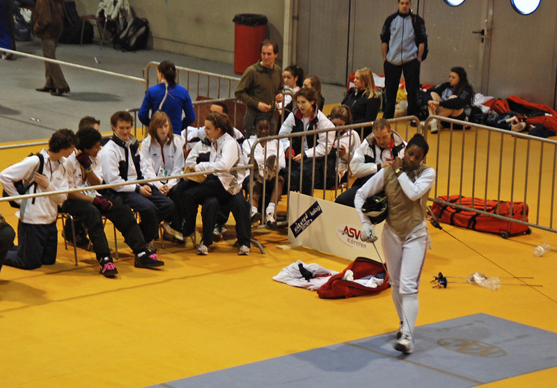 The British team supporting their Women's Foil fencers.
