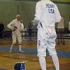 Mark Henry (left) fencing in the 2011 Veteran-70+ Men's Epee World Championships.