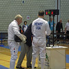 Mark Henry (right) fencing in the 2011 Veteran-70+ Men's Epee World Championships against Siem Kamp (NED).