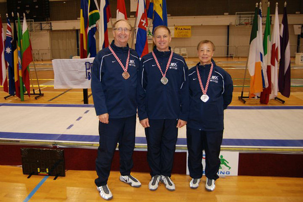 USA medalists at the 2011 Veteran World Championships, Porec, Croatia.  From left: Ray Sexton, Josh Runyon and Bettie Graham (photo by Nicole Jomantas, USFA).