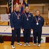 USA medalists at the 2011 Veteran World Championships, Porec, Croatia.  From left: Ray Sexton, Josh Runyon and Bettie Graham (photo by Nicole Jomantas, USFA).