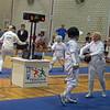 Bettie Graham (left) fences in the Veteran-70+ Women's Epee World Championship against Janka Wohlfarth, Germany.