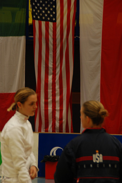 Maureen Griffin speaks to Grace Neveu before the gold medal bout.