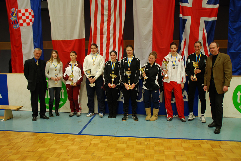 The finalists at the Modling cadet tournament:  Grace Neveu (1st, USA), Toncica Topic (2nd, CRO), Diana Donoiu (3rd, ROM), Katharine Holmes (3rd, USA), Sarah Collins (5th, USA), Natalie Gegan (6th, USA), Borbala Gonda (7th, HUN), Laura Szabo (8th, HON).