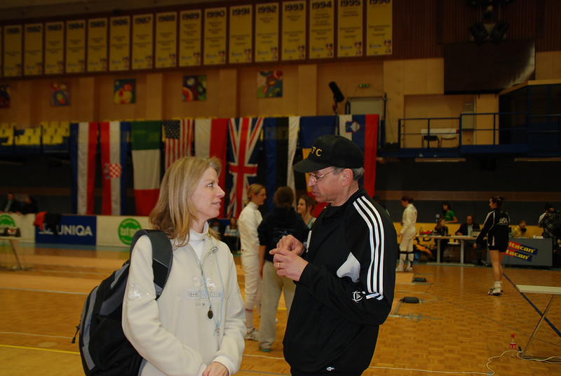 Lorrie Marcil talks with Fencing Master Raymond Finkleman before the final eight begins.