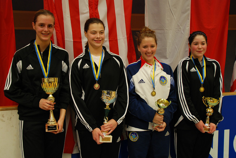 The US medal winners in Modling: from left, Grace Neveu (1st), Katharine Holmes (3rd), Natalie Gegan (6th), Sarah Collins (5th).