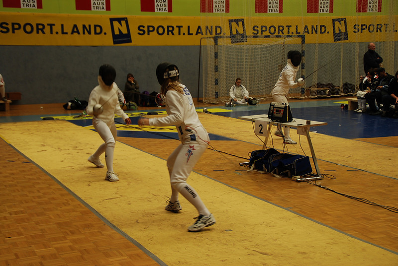 Channing Foster (right) fences in her first DE bout.