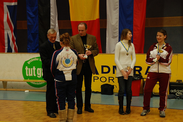 US fencer Natalie Gegan receives her trophy for placing 6th in Modling.