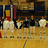 The presentation of the finalists before the final round of 8 begins.  (One fencer was unavailable.)