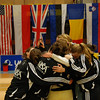 The US fencers rush to congratulate Grace Neveu after winning the gold medal in the Modling tournament.