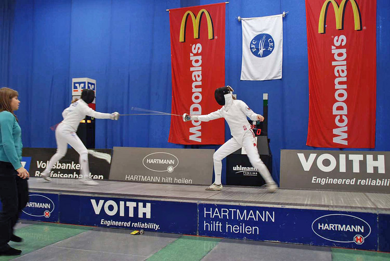 Channing Foster (left) in the first round of pools at the Heidenheim Cadet Designated Tournament.