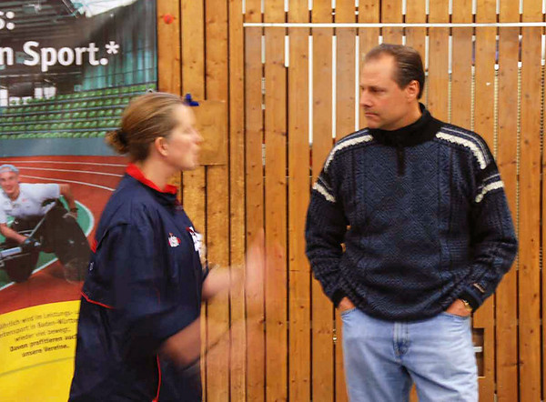Maureen Griffin, US Cadet Women's Coach, talks with Chris Holmes.