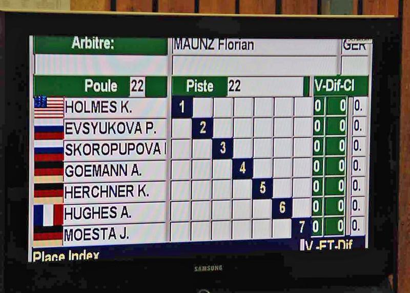 Katharine Holmes' second pool round scoresheet.