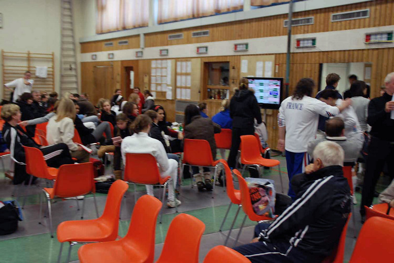 The finals room is where everyone gathers to watch the results display on the large TV.