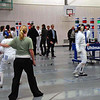 Katharine Holmes, right, in her first DE bout against Plachta, a german fencer.