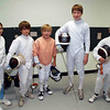 The Chevy Chase Fencing Club fencers participating in the Youth-10/Youth-12 Mixed Epee on Sunday, September 27, 2009 at the Rockville Fencing Academy.  From left: Elizabeth Wiggins, Kenneth Hill, Carter Tate, Jacob Roberts and Simon Hardy.