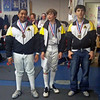 Youth-14 Men's Epee Qualifiers.  From right: Daniel Wiggins (1st), Sam Hayden (2nd), Seth Flanagan (3rd).  (Photo by Melanie Carr)