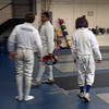 From left: Sam Hayden, Seth Flanagan and Joseph Levine at the Youth-14 Men's Epee Qualifiers.  (Photo by Melanie Carr)