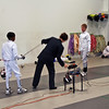 Matthew Little (left) prepares to fence against Simon Hardy.