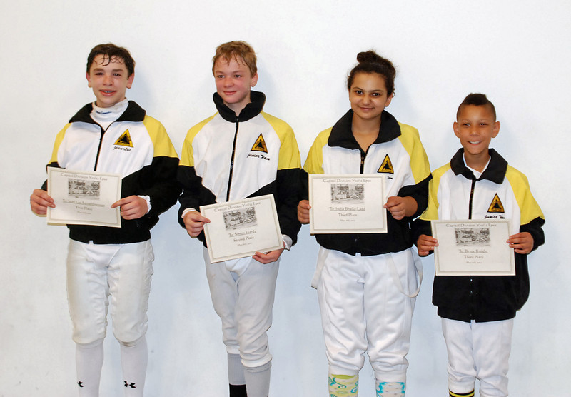 The medalists at the Youth-12 & Under Mixed Epee.  From left: Jean-Luc Sensenbrenner (1st), Simon Hardy (2nd), India Bhalla-Ladd (3rd), and Bryce Knight (3rd).
