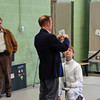 The referee checks the epee of Simon Hardy.