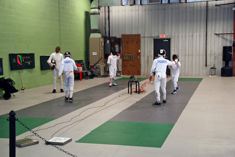 CCFC fencers warming up before the start of the tournament.