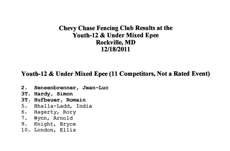 Chevy Chase Fencing Club results at the December 2011 Youth-12 & Under Mixed Epee Competition.
