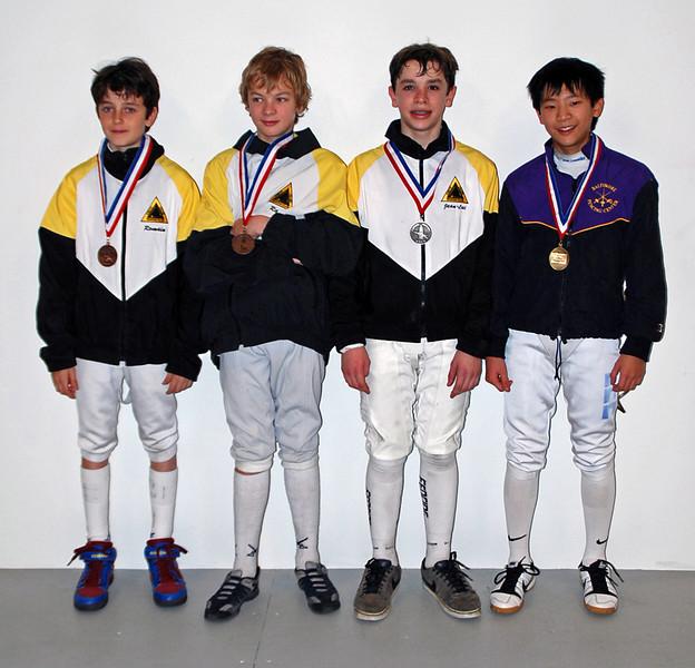 From left: Romain Hufbauer (3rd), Simon Hardy (3rd), Jean-Luc Sensenbrenner (2nd), Matthew Lee (1st).
