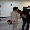 The referee checks the epee of India Bhalla-Ladd in her first tournament.