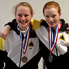 Lindy Hill (bronze) and Juliana Bain (silver) in the Y12 & Under Mixed Epee, May 1, 2011.