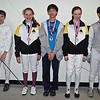 The finalists of the Y12 & Under Mixed Epee.  From left: Jean-Luc Sensenbrenner (7th), Lindy Hill (3rd), Jiayang Shi (3rd), Juliana Bain (2nd), Kevin Wang (1st).  Not pictured: Elizabeth Wiggins (5th), Gaia Sartorelli (6th), Isaac Eaton (8th).