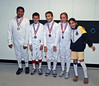 The top fencers from the Youth Under-12 Mixed Epee.  From left: Seth Flanagan (1st), Victor Teelucksingh (2nd), Sam Hayden (3rd), Olivia Morreale (3rd) and Elizabeth Wiggins (7th).