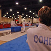 Ben Cohen checking out his opponents before the start of the Junior Men's Epee.