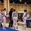 The pool huddle before fencing for Lena Abraham in the Cadet Women's Foil.