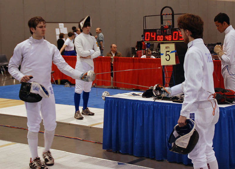 Ben Cohen competing against Graham Wicas in the Junior Men's Epee.  Ben lost 5-3, but scored more touches against Graham than anyone else in the pool.