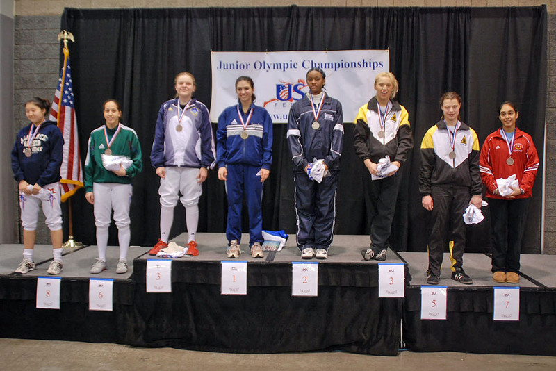 The finalists in Cadet Women's Epee.  From left: Dina Bazarbayeva (8th), Elizabeth Donnenberg (6th), Emma Peterson (3rd), Francesca Bassa (1st), Kimberly Howell (2nd), Annie Stephenson (3rd), Katharine Holmes (5th), Amrit Bhinder (7th).