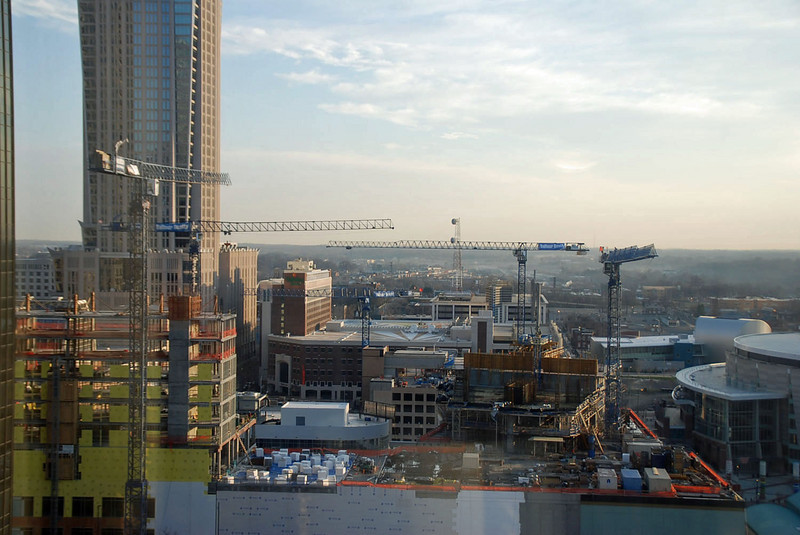 Lots of construction going on in downtown Charlotte, NC.