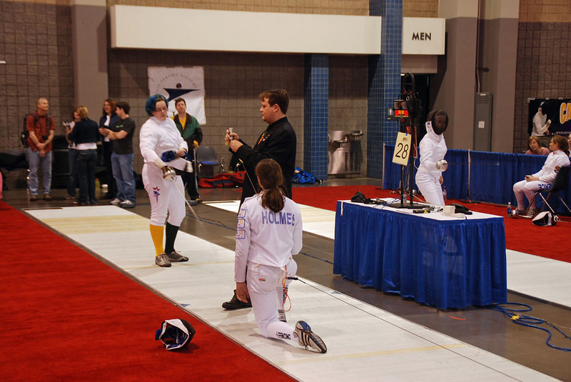 Katharine Holmes about to fence with Charlotte Wirth.